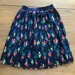 Floral Flowers Spring Pleated Navy Blue Skirt XS